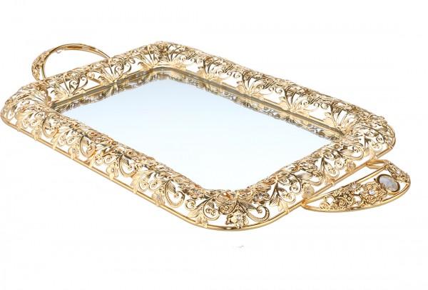 Bavary | Luxus | Dekotablett | Gold | Aus Glas & Mikanit | mit Spiegel | By-ml-g