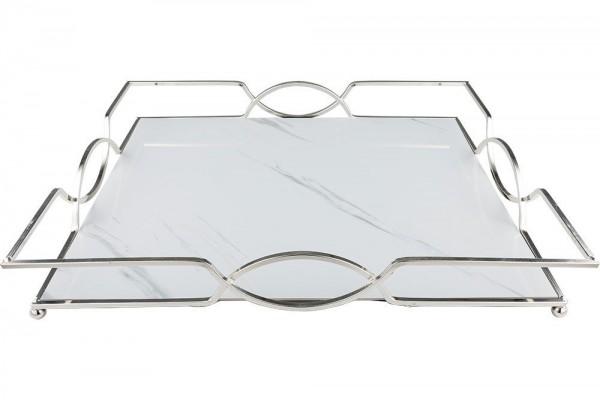 Marmor Desenli Tepsi | 43,8 cm x 34 cm | Gümüş-Beyaz | By-me-XLS
