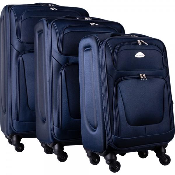 Bavary | 3'lü Bavul Seti | Tekerlekli | Mavi | Şifreli | G1960-NAVY