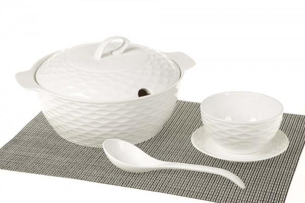 Bavary Fas 15 Parça Porselen Çorba Seti | Beyaz | 6 Kişilik | B2