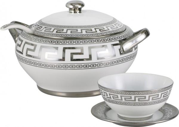 Bavary Fas 39 Parça Porselen Çorba Seti Gümüş Motif | 12 Kişilik | DE-1200S