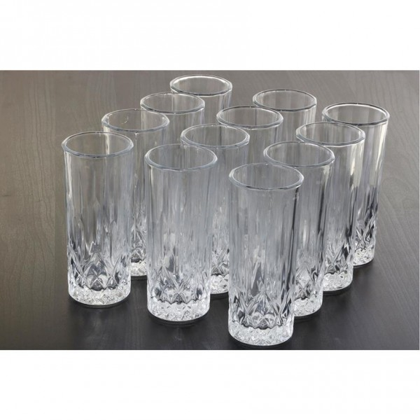 Bavary 12|24 Parça Kareli Uzun Su Bardağı Seti | 250ml
