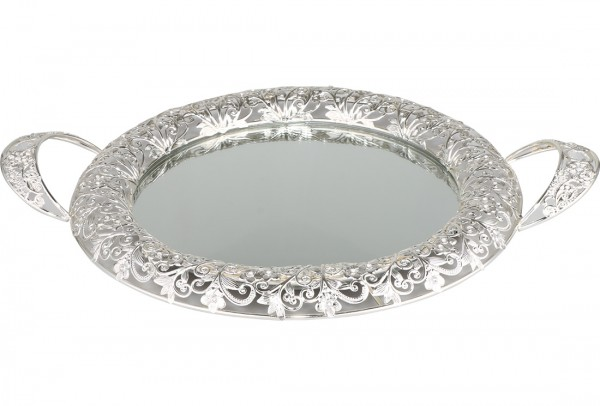Bavary | Luxus | Servierplatte | Mit Spiegelglas | Silber | Rund | Aus Glas & Mikanit | By-mr-s
