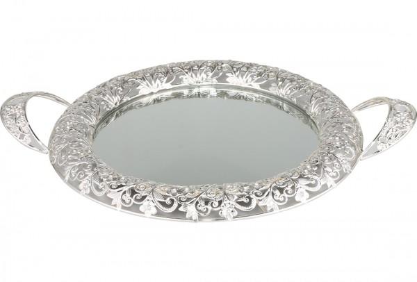 Bavary Aynalı Lüks Tepsi   Gümüş   By-mr-s