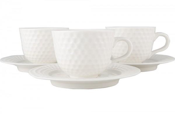 Bavary | Türkische Kaffee Set | Golf Design | für 6 Personen | Fine Porzellan | Weiß | By-hyc237s