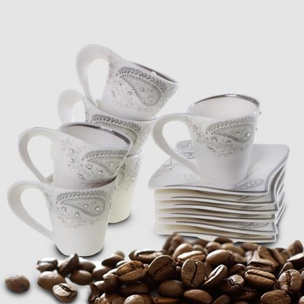 Edle Mokka Tassen Set 12Tlg 6 Personen Mocca Espresso Service Klein Kaffee Tassen