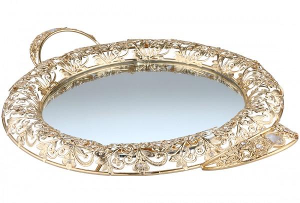Bavary| Luxus | Serviertablett | Mit Spiegelglas | Gold | Rund | Aus Mikanit & Glas | By-mr-g
