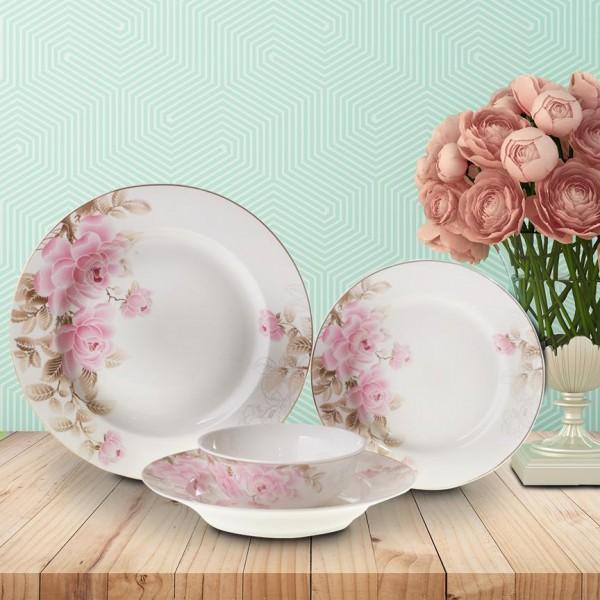 Bavary 24 Parça Çiçekli Porselen Yemek Takımı | Yuvarlak | 6 Kişilik