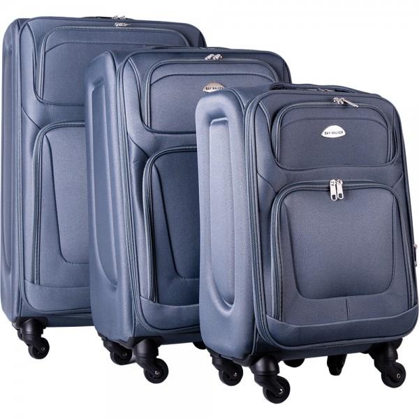 Bavary | 3'lü Bavul Seti | Tekerlekli | Gri | Şifreli | G1960-GREY